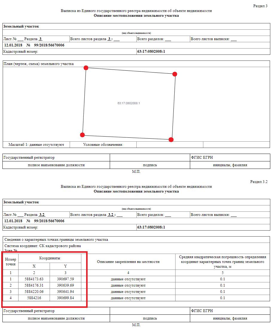 Выписка с планом и границами участка