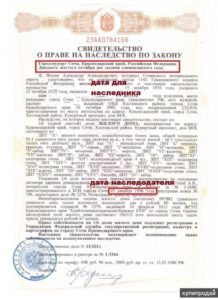 Даты собственности в свидетельстве о наследстве